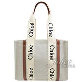 茱麗葉精品【全新現貨】CHLOE Woody 經典LOGO織帶帆布托特包.米/咖 中