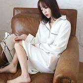 春秋女睡裙長袖韓版純棉簡約清新白色睡衣寬鬆甜美學生家居服薄夏   LannaS