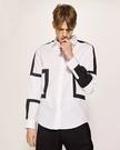 FINDSENSE 歐美 設計  幾何 拼接 皮革 襯衫 方領拼接 男 高檔襯衫