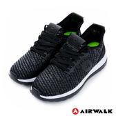 美國AIRWALK-破冰 網眼透氣雙層大底輕量運動鞋-男黑