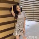 心機裙子設計感顯瘦修身氣質抽繩夜店性感洋裝2021夏裝新款個性 小艾新品