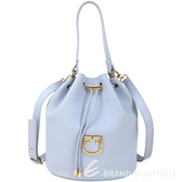 FURLA Corona 可拆萬用袋粒面皮革手提/肩背水桶包(水藍色)1930075-27