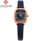 JULIUS 聚利時 星光大道立體鏡面皮錶帶腕錶-深藍色/22x25mm 【JA-885E】