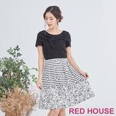 Red House 蕾赫斯-蝴蝶結花朵條紋洋裝(共2色)
