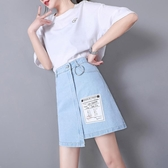 不規則牛仔半身裙女夏2019新款高腰韓版顯瘦ins超火淺色短裙a字裙