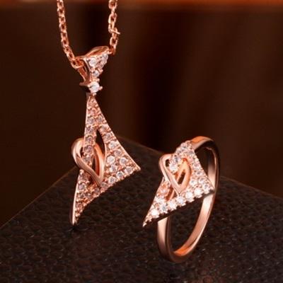 玫瑰金銀飾套裝含項鍊+戒指-三角鑲鑽生日情人節禮物女飾品73bv25[時尚巴黎]