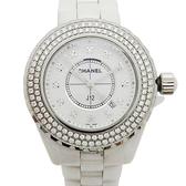CHANEL香奈兒 白色陶瓷鑲鑽珍珠母貝錶盤石英腕錶 J12 H2422 (錶框鑽石後鑲) 【二手名牌BRAND OFF】