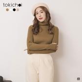 東京著衣-tokichoi-時髦百搭多色高領坑條上衣(191734)