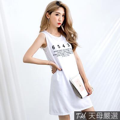 【天母嚴選】數字膠印無袖長版上衣/洋裝(共三色)