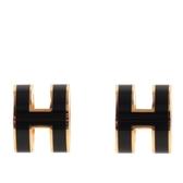 【HERMES】Pop H立體簍空橢圓LOGO耳環(黑色/金色) H608001F 03
