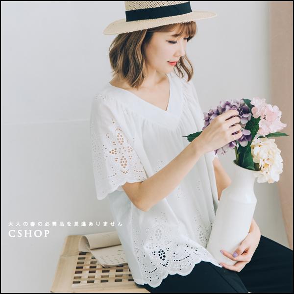 棉麻衫 簍空刺繡花朵V領棉麻衫 四色-小C館日系