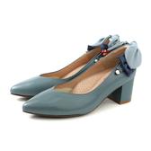 HUMAN PEACE 粗跟鞋 尖頭鞋 灰藍色 女鞋 084513NB no311
