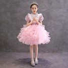 兒童高端晚禮服女童主持人走秀鋼琴演出服兒童洋氣公主裙蓬蓬紗裙