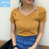 【V1871-1】shiny藍格子-瑕疵特賣.純色V領交叉修身針織短袖上衣