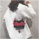 小方包 搞怪小包包女新款韓版小魔鬼可愛小方包鍊條側背斜背包潮 伊羅鞋包