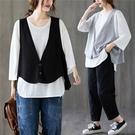 中大尺碼 秋裝2020新款女胖mm寬鬆大碼設計感長袖T恤小個子背心馬夾兩件套 店慶降價