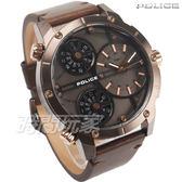 POLICE 義大利精品 數學幾何風格 三時區三眼男錶 防水手錶 運動錶 古銅 咖啡棕 真皮錶帶 14699JSBN-12