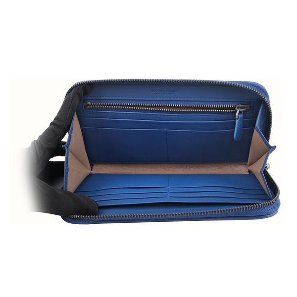 【BOTTEGA VENETA】小羊皮編織ㄇ型拉鍊長夾(鋼藍色) 518389 V001N 4234