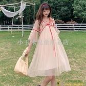 洋裝連身裙孕婦裝夏裝連身裙撞色高腰很仙的仙女裙百褶裙燈籠袖漢服品牌【小玉米】