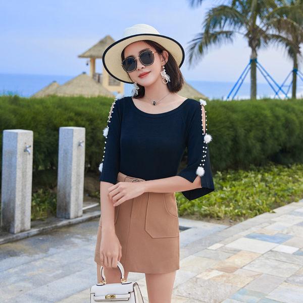 VK旗艦店 韓國風針織喇叭袖上衣短裙時尚套裝短袖裙褲裝