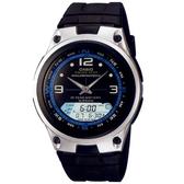 【CASIO】10年電力海洋型男膠帶雙顯錶-黑面(AW-82-1A)
