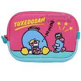 〔小禮堂〕山姆企鵝 潛水布方型零錢包《桃.睡覺》收納包.萬用包 4930972-46356