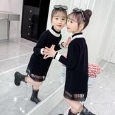 女童毛衣連身裙新款洋氣兒童裝水貂絨公主裙秋冬季長袖洋裝 EY10129【VIKI菈菈】