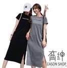 EASON SHOP(GW2617)韓版簡約字母印花薄款下襬開衩圓領短袖連身裙洋裝孕婦裝女上衣服長裙修身過膝裙