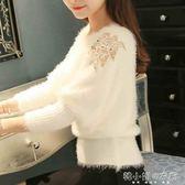 毛針織毛衣女套頭短款寬鬆韓版打底衫秋冬新款蝙蝠衫外穿     韓小姐