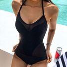 泳裝 比基尼 泳衣 素色 聚攏 露背 遮...
