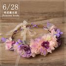 2017新款新娘花環咖啡色頭飾發飾 韓國...