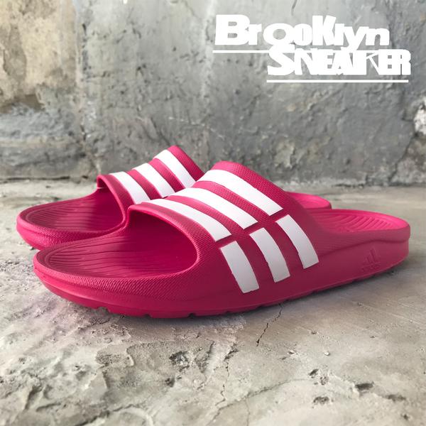 Adidas DURAMO SLIDE 桃紅色 防水 海灘 女 拖鞋 (布魯克林) 2018/7月 G06797