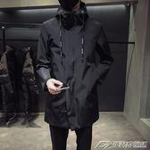 夾克男秋新款韓版連帽中長款風衣青年帥氣修身外套潮流休閒大衣  潮流前線