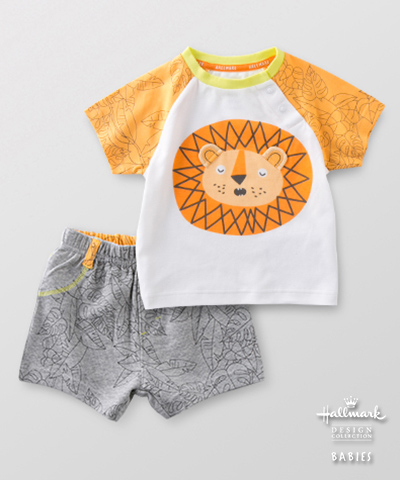 Hallmark Babies 男嬰春夏長絨棉動物短袖套裝(T恤+短褲) HE1-N01-07-BB-NG