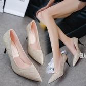 尖頭單鞋2019夏新款女鞋子中跟女士皮鞋黑色高跟鞋細跟優雅Ol鞋JA5146『麗人雅苑』
