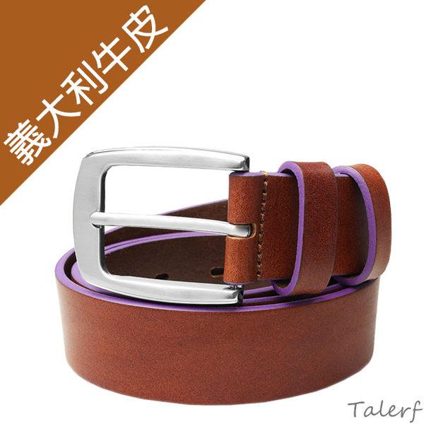 TALERF馬卡龍個性單層皮帶(紫色/共6色)-情侶-女 /真皮 牛皮/台灣製造