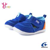 Moonstar月星寶寶鞋 男學步涼鞋 HI系列 小童涼鞋 護趾涼鞋 包頭涼鞋 速乾 日本機能鞋 J9652#藍色