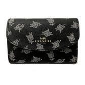 【COACH】經典LOGO PVC皮革花卉鑰匙包(黑)