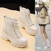 網紅短靴子女秋款2020新款厚底女鞋內增高冬季瘦瘦靴英倫風馬丁靴 范思蓮恩