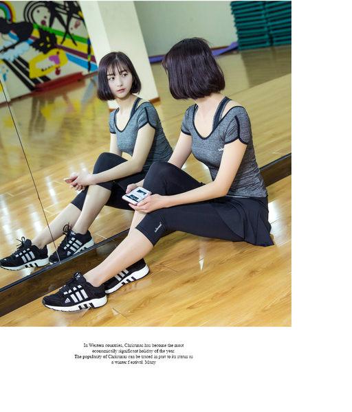 韓國春夏新款瑜伽服套裝套女短袖背心休閒運動跑步健身喻咖服   -cmx0048