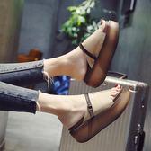 鬆糕厚底拖鞋 外穿坡跟高跟一字拖涼拖鞋【多多鞋包店】z7920