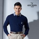 Emilio Valentino范倫鐵諾美式經典條紋純棉POLO衫 (深藍)