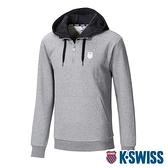 K-SWISS KS Color Hoodie刷毛連帽上衣-男-灰