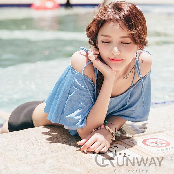 韓國 清新 一字領露肩荷葉 泳裝 復古高腰泳褲 二件式小胸美型泳衣 海邊 比基尼 溫泉泳衣