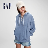 Gap女裝 時尚寬鬆毛圈連帽休閒上衣 861815-中度靛藍