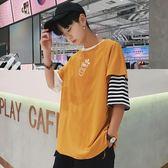 新品夏季7分袖T恤男寬鬆七分假兩件bf日韓潮流嘻哈拼接短袖蝙蝠衫【俄羅斯世界杯狂歡節】