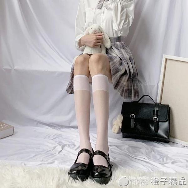 透明小腿襪白色襪子女jk夏天薄款中筒夏季長筒ins潮半筒絲襪日系『橙子精品』