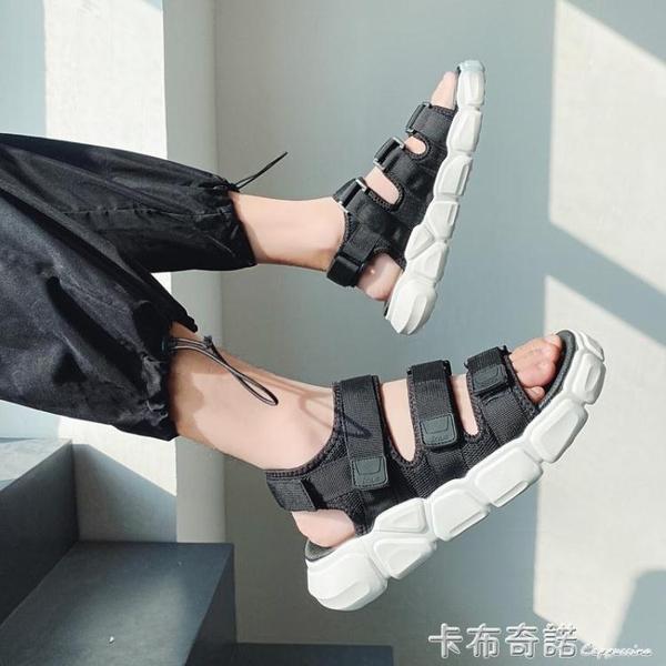 涼鞋男ins潮流夏季學生青少年越南羅馬運動一鞋兩穿開車沙灘拖鞋 卡布奇诺