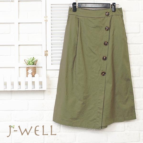 J-WELL 裝飾釦仿裙寬褲 8J1530