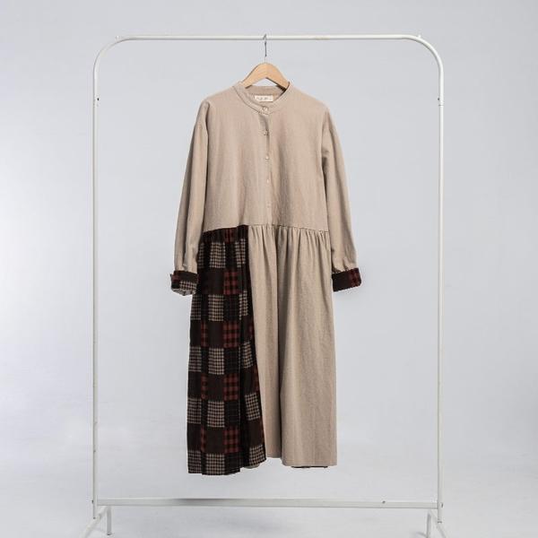 Queen Shop【01085099】中山領格紋拼接傘擺長洋裝*現+預*